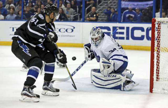 TAMPA, FL - DECEMBER 29: Antoine Bibeau #30 of the Toronto Maple Leafs makes a save on Valtteri Filppula #51 of the Tampa Bay Lightning during the second period at Amalie Arena on December 29, 2016 in Tampa, Florida. (Photo by Mike Carlson/Getty Images)
