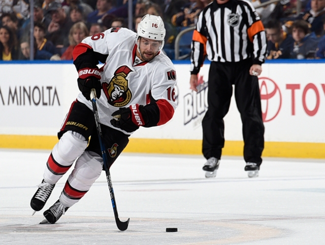 BUFFALO, NY - OCTOBER 8: Clarke MacArthur #16 of the Ottawa Senators skates with the puck during the game against the Buffalo Sabres at the First Niagara Center on October 8, 2015 in Buffalo, New York. (Photo by Tom Brenner/ Getty Images)