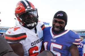ORCHARD PARK, NY - DECEMBER 18: Jonathan Cooper #64 of the Cleveland Browns laughs with Brandon Tate #15 of the Buffalo Bills after the game at New Era Field on December 18, 2016 in Orchard Park, New York. (Photo by Brett Carlsen/Getty Images)