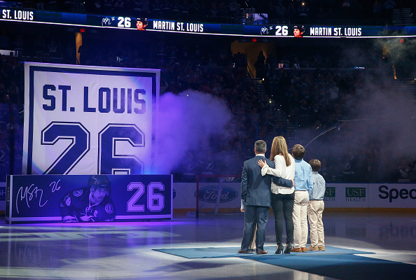 TAMPA, FL - JANUARY 13: Former Tampa Bay Lightning Martin St. Louis watches a banner raise during a ceremony to retire his number 26 at the Amalie Arena on January 13, 2017 in Tampa, Florida. (Photo by Mike Carlson/Getty Images)