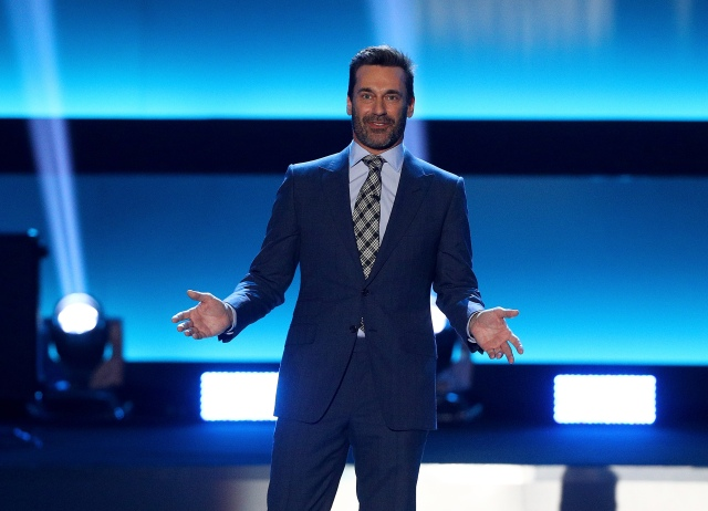 LOS ANGELES, CA - JANUARY 27: Host Jon Hamm speaks onstage during the NHL 100 presented by GEICO show as part of the 2017 NHL All-Star Weekend at the Microsoft Theater on January 27, 2017 in Los Angeles, California. (Photo by Bruce Bennett/Getty Images)