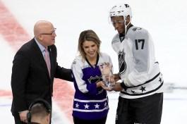 LOS ANGELES, CA - JANUARY 29: (L-R) NHL Deputy Commissioner Bill Daly, Courtney Daniels and 2017 Honda Ridgeline NHL All-Star MVP <a rel=