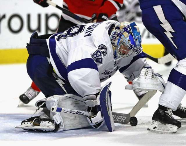 CHICAGO, IL - JANUARY 24: Andrei Vasilevskiy #88 of the Tampa Bay Lightning makes a save against the Chicago Blackhawks at the United Center on January 24, 2017 in Chicago, Illinois. The Lightning defeated the Blackhawks 5-2. (Photo by Jonathan Daniel/Getty Images)