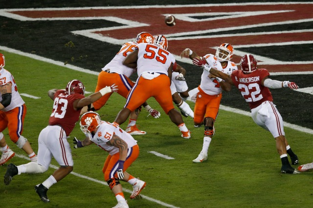 TAMPA, FL - JANUARY 09:  Quarterback Deshaun Watson #4 of the Clemson Tigers throws a pass during the first half against the Alabama Crimson Tide in the 2017 College Football Playoff National Championship Game at Raymond James Stadium on January 9, 2017 in Tampa, Florida.  (Photo by Brian Blanco/Getty Images)