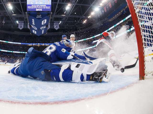 TAMPA, FL - FEBRUARY 27: Goalie Andrei Vasilevskiy #88 of the Tampa Bay Lightning makes a save against the Ottawa Senators during the first period at Amalie Arena on February 27, 2017 in Tampa, Florida. (Photo by Scott Audette/NHLI via Getty Images)