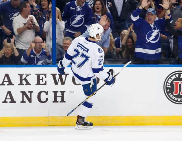 TAMPA, FL - FEBRUARY 7: Jonathan Drouin #27 of the Tampa Bay Lightning celebrates his goal against the Los Angeles Kings during the first period at Amalie Arena on February 7, 2017 in Tampa, Florida. (Photo by Scott Audette/NHLI via Getty Images)