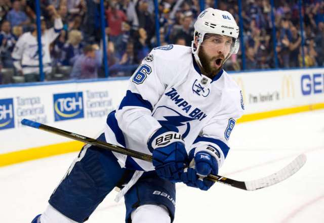 AMPA, FL - FEBRUARY 7: Nikita Kucherov #86 of the Tampa Bay Lightning celebrates his goal against the Los Angeles Kings during the second period at Amalie Arena on February 7, 2017 in Tampa, Florida. (Photo by Mark LoMoglio/NHLI via Getty Images)