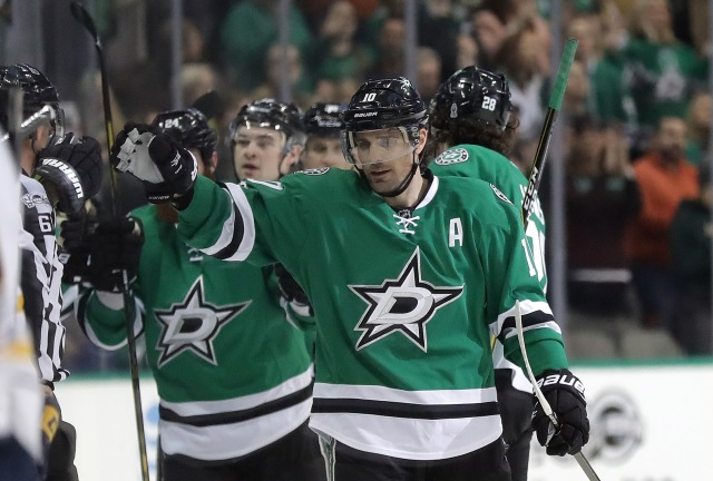 DALLAS, TX - JANUARY 26:  Patrick Sharp #10 of the Dallas Stars celebrates his goal against the Buffalo Sabres in the second period at American Airlines Center on January 26, 2017 in Dallas, Texas.  (Photo by Ronald Martinez/Getty Images)