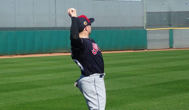 Robertson warms up during Spring practice in February, 2017 in Goodyear, AZ. - Joseph Coblitz, BurningRiverBaseball