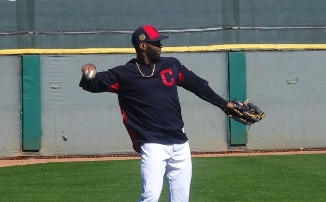 Diaz throws one back in while shagging flies during batting practice in Goodyear, AZ. - Joseph Coblitz, BurningRiverBaseball