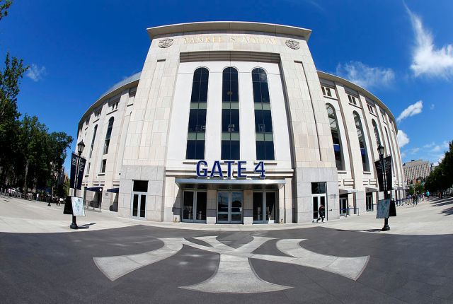 NEW YORK, NY - AUGUST 14: Exterior of Yankee Stadium before the start of a MLB baseball game between the Los Angeles Angels of Anaheim and New York Yankees on August 14, 2013 in the Bronx borough of New York City. (Photo by Rich Schultz/Getty Images)