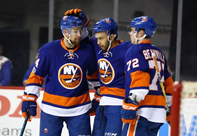 NEW YORK, NY - MARCH 13: Joshua Ho-Sang #66 of the New York Islanders celebrates his goal against the Carolina Hurricanes during their game at the Barclays Center on March 13, 2017 in New York City. (Photo by Al Bello/Getty Images)