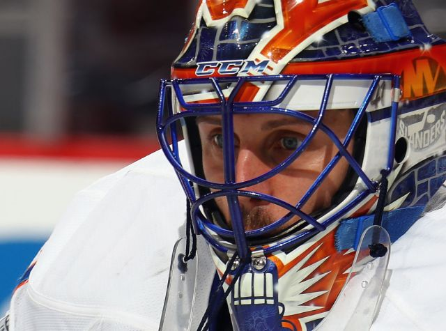 NEWARK, NJ - APRIL 08: Jaroslav Halak #41 of the New York Islanders tends net against the New Jersey Devils during the second period at the Prudential Center on April 8, 2017 in Newark, New Jersey. (Photo by Bruce Bennett/Getty Images)