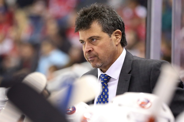 Dec 1, 2016; Washington, DC, USA; New York Islanders head coach Jack Capuano looks on from behind the bench against the Washington Capitals in the second period at Verizon Center. The Islanders won 3-0. Mandatory Credit: Geoff Burke-USA TODAY Sports