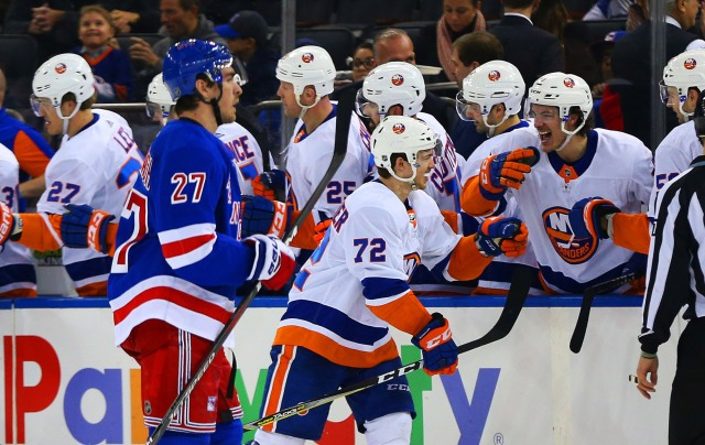Jan 13, 2018; New York, NY, USA; New York Islanders center Anthony Beauvillier (72) is congratulated after scoring a goal against the New York Rangers during the second period at Madison Square Garden. Mandatory Credit: Andy Marlin-USA TODAY Sports