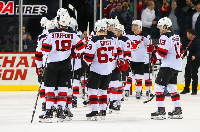 Jan 16, 2018; Brooklyn, NY, USA; The New Jersey Devils celebrate after defeating the New York Islanders 4-1 at Barclays Center. Mandatory Credit: Andy Marlin-USA TODAY Sports
