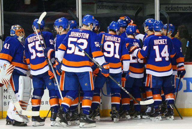Feb 9, 2018; Brooklyn, NY, USA; The New York Islanders celebrate after defeating the Detroit Red Wings at Barclays Center. Mandatory Credit: Andy Marlin-USA TODAY Sports