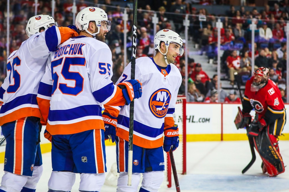Mar 11, 2018; Calgary, Alberta, CAN; New York Islanders center Jordan Eberle (7) celebrates his goal with teammates against the Calgary Flames during the first period at Scotiabank Saddledome. Mandatory Credit: Sergei Belski-USA TODAY Sports