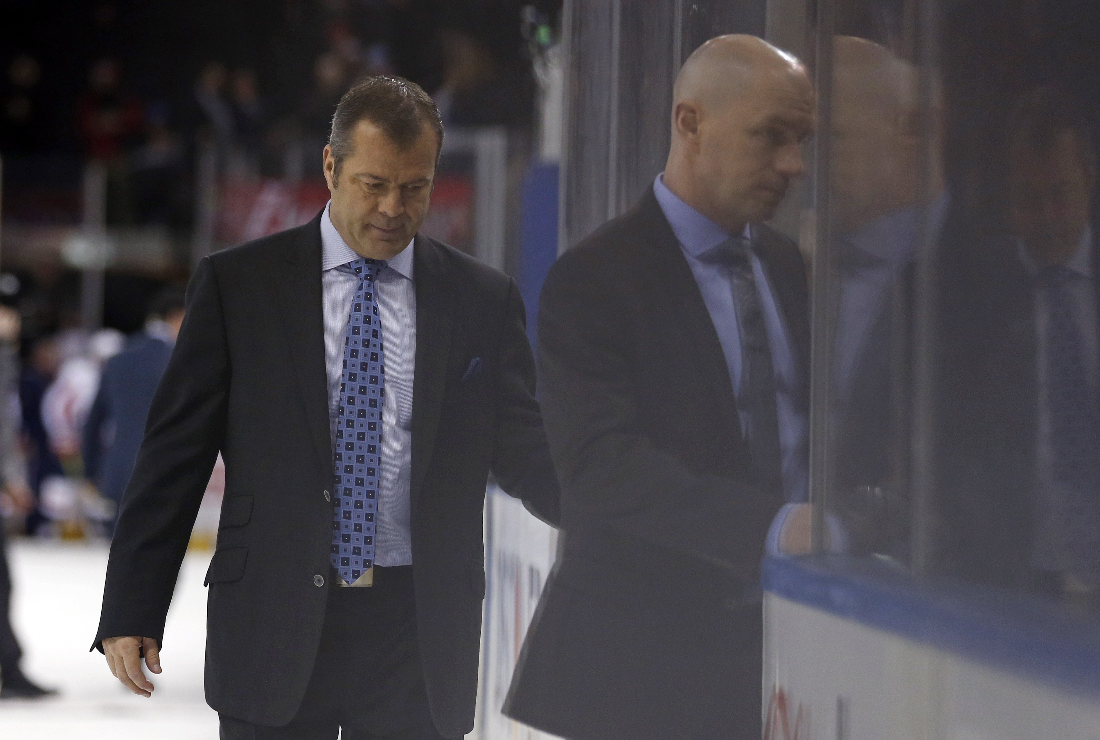 Mar 26, 2018; New York, NY, USA; New York Rangers head coach Alain Vigneault leaves the ice after losing to the Washington Capitals at Madison Square Garden. Mandatory Credit: Adam Hunger-USA TODAY Sports