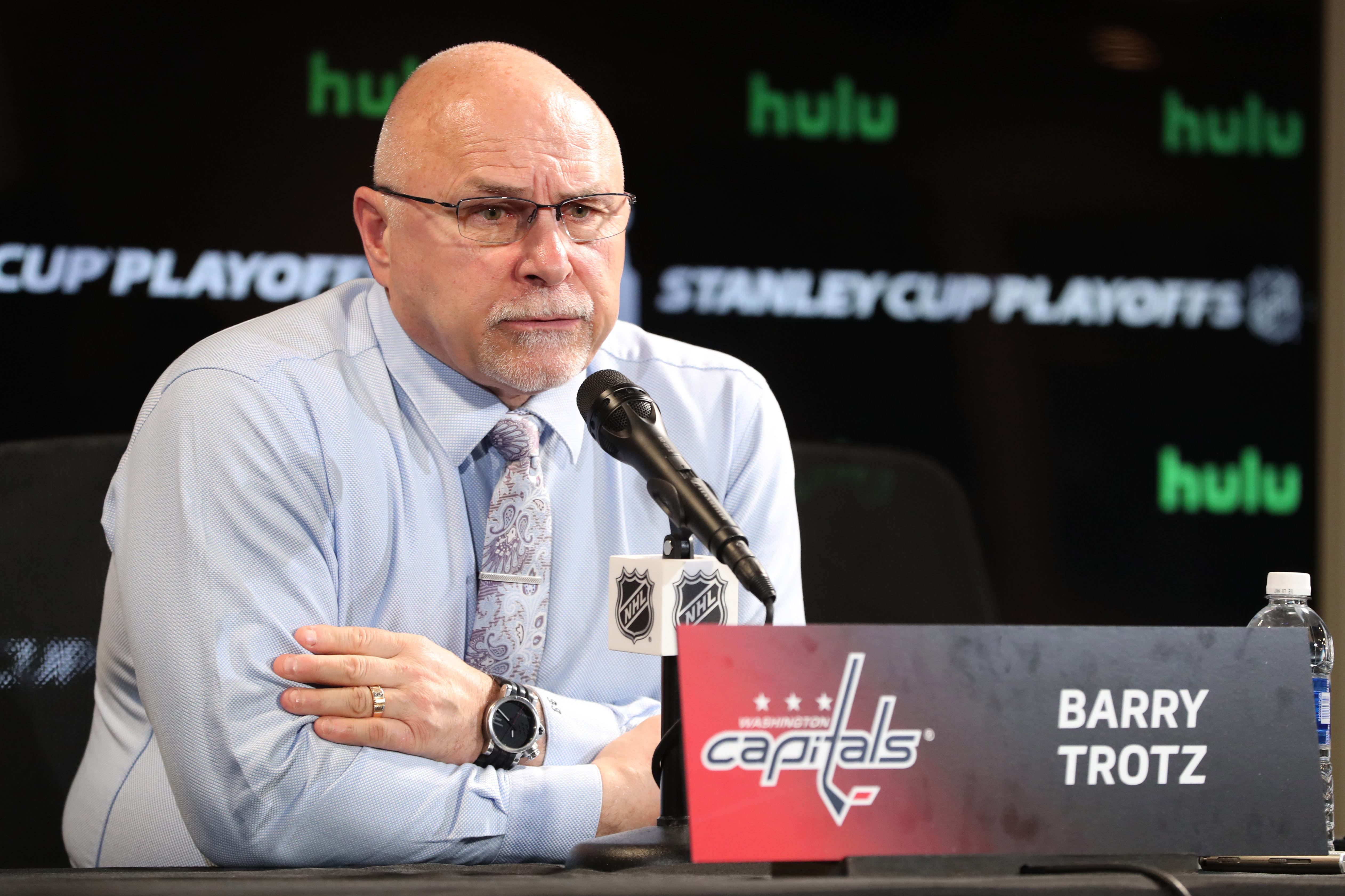 May 11, 2018; Tampa, FL, USA; Washington Capitals head coach Barry Trotz talks with media after game one of the Eastern Conference Final in the 2018 Stanley Cup Playoffs at Amalie Arena. Mandatory Credit: Kim Klement-USA TODAY Sports