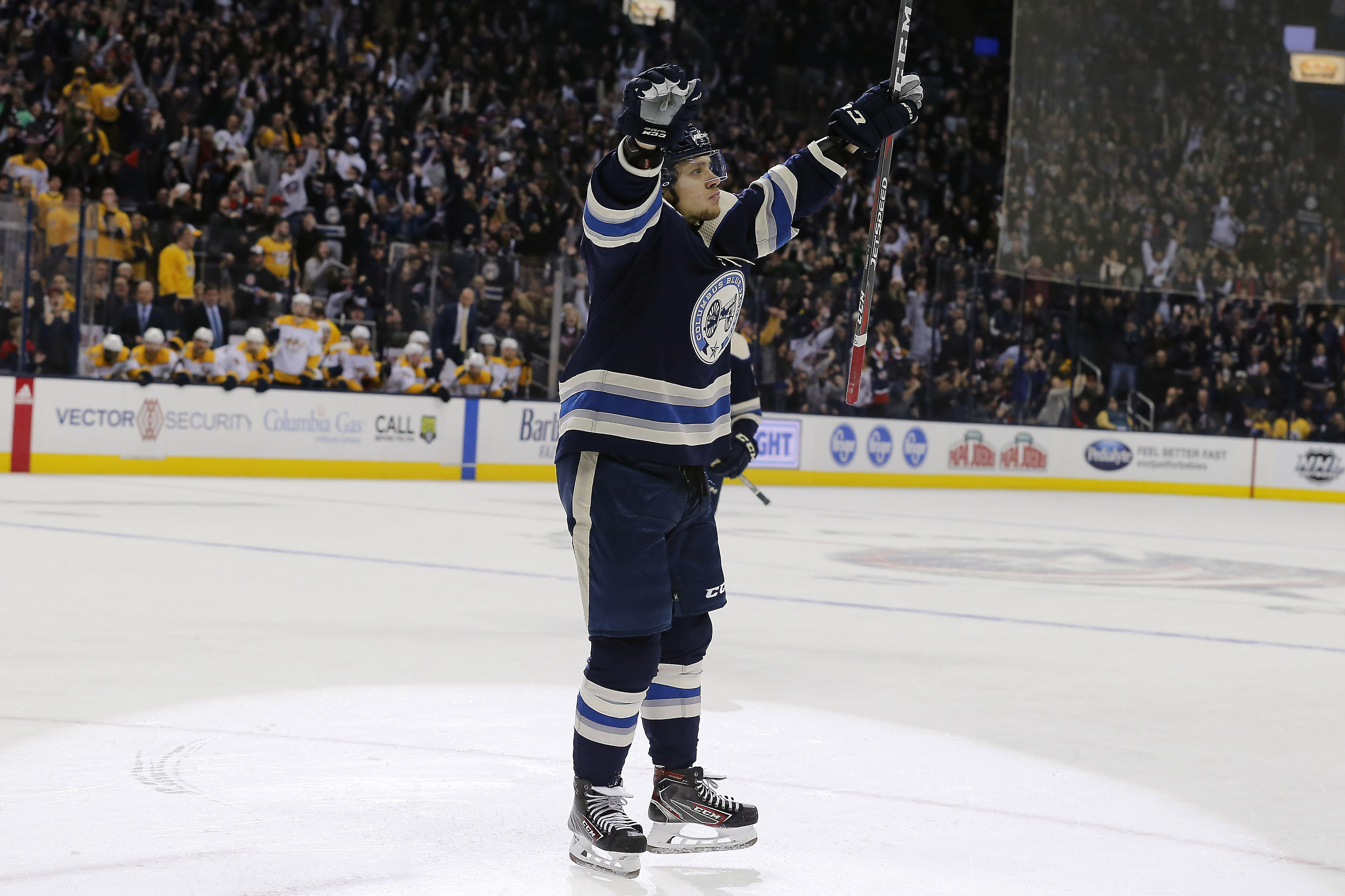 Jan 10, 2019; Columbus, OH, USA; Columbus Blue Jackets left wing Artemi Panarin (9) celebrates the game winner during overtime against the Nashville Predators at Nationwide Arena. Mandatory Credit: Russell LaBounty-USA TODAY Sports