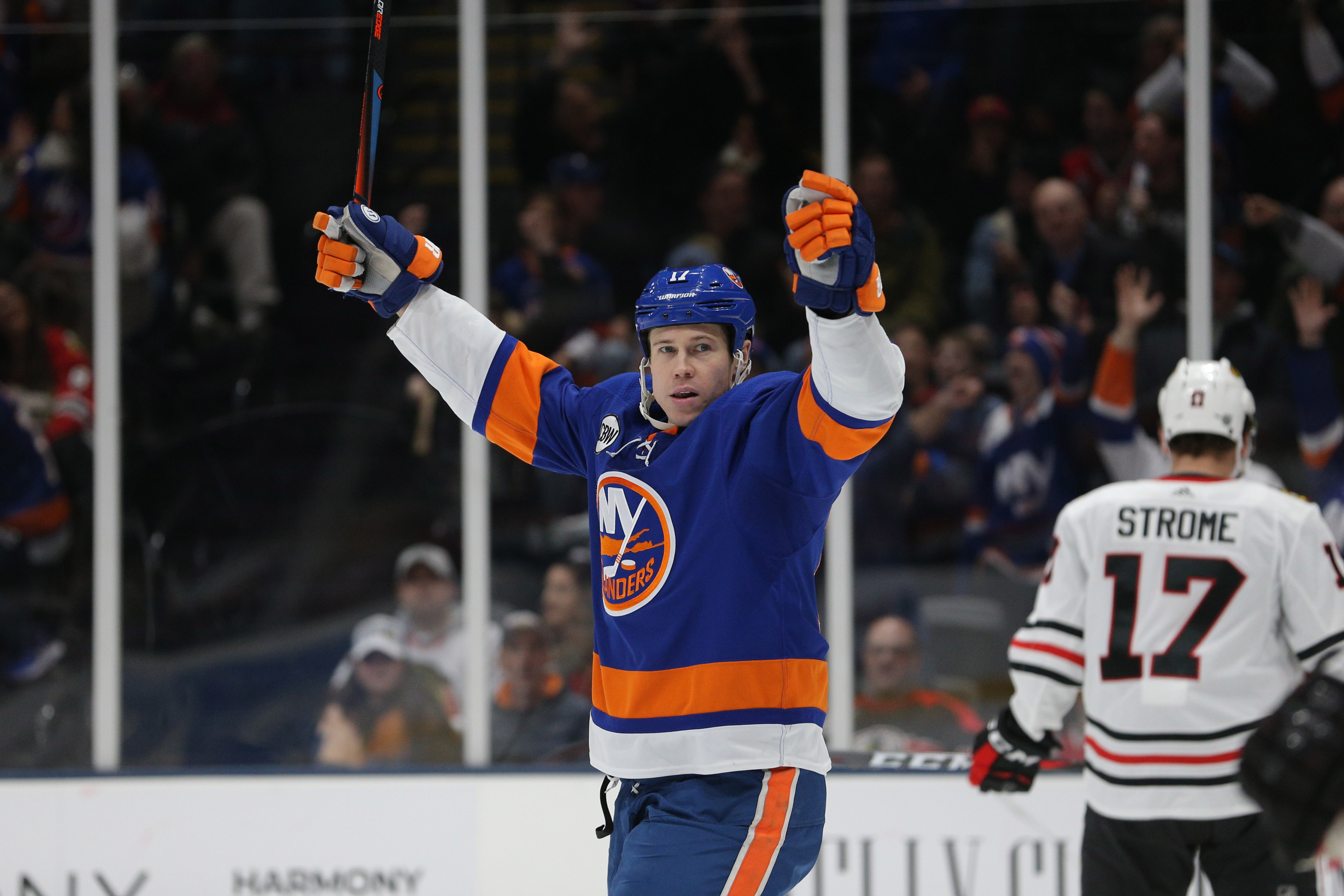 Jan 3, 2019; Uniondale, NY, USA; New York Islanders left wing Matt Martin (17) celebrates a goal by New York Islanders right wing Cal Clutterbuck (not pictured) against the Chicago Blackhawks during the second period at Nassau Veterans Memorial Coliseum. After review the goal was reversed for a high stick. Mandatory Credit: Brad Penner-USA TODAY Sports