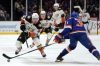 Jan 20, 2019; Uniondale, NY, USA; Anaheim Ducks center Devin Shore (29) plays the puck against New York Islanders defenseman Adam Pelech (3) during the first period at Nassau Veterans Memorial Coliseum. Mandatory Credit: Brad Penner-USA TODAY Sports