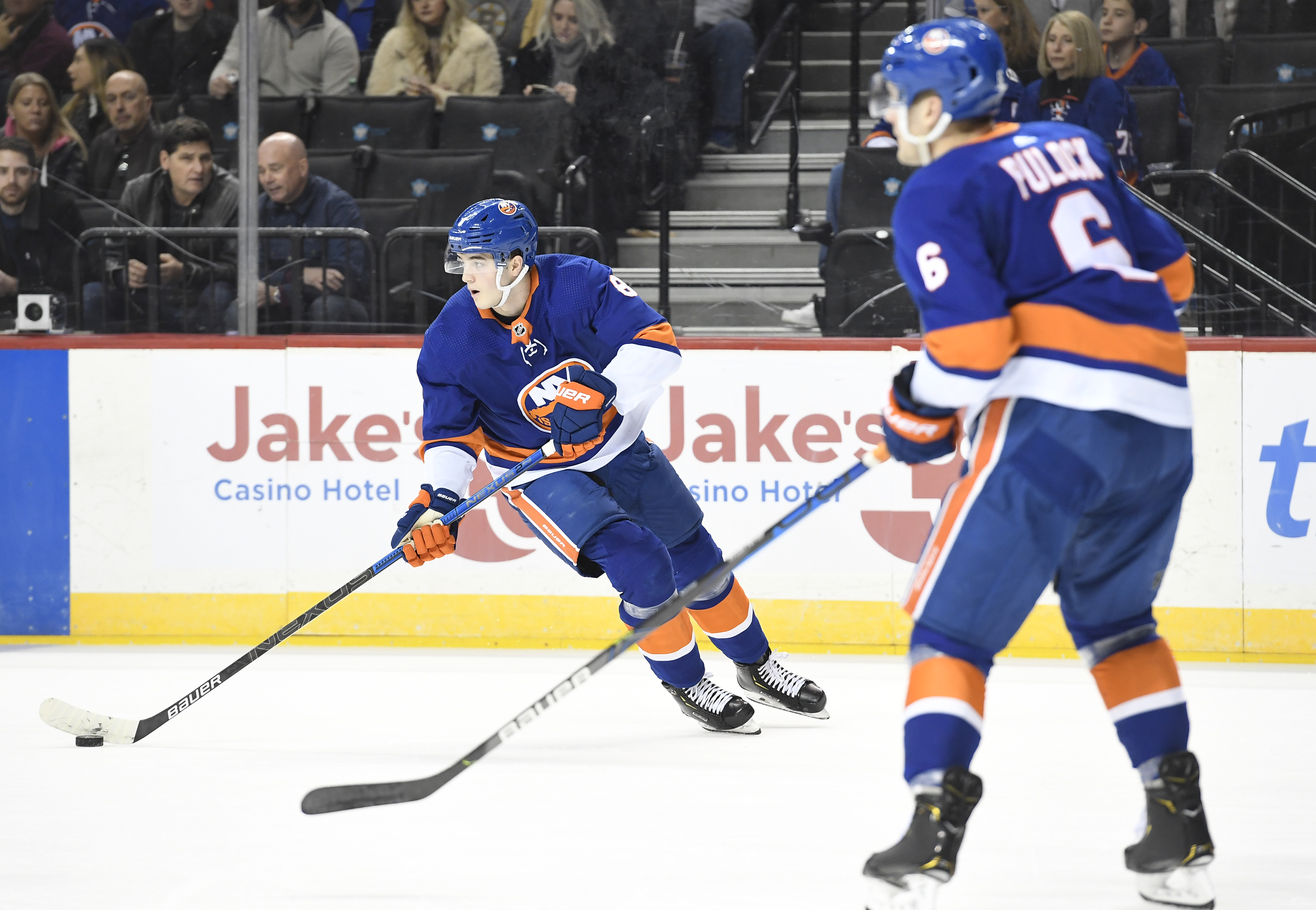 Jan 11, 2020; Brooklyn, New York, USA; New York Islanders defenseman Noah Dobson (8) skates with the puck during the first period against the Boston Bruins at Barclays Center. Mandatory Credit: Sarah Stier-USA TODAY Sports