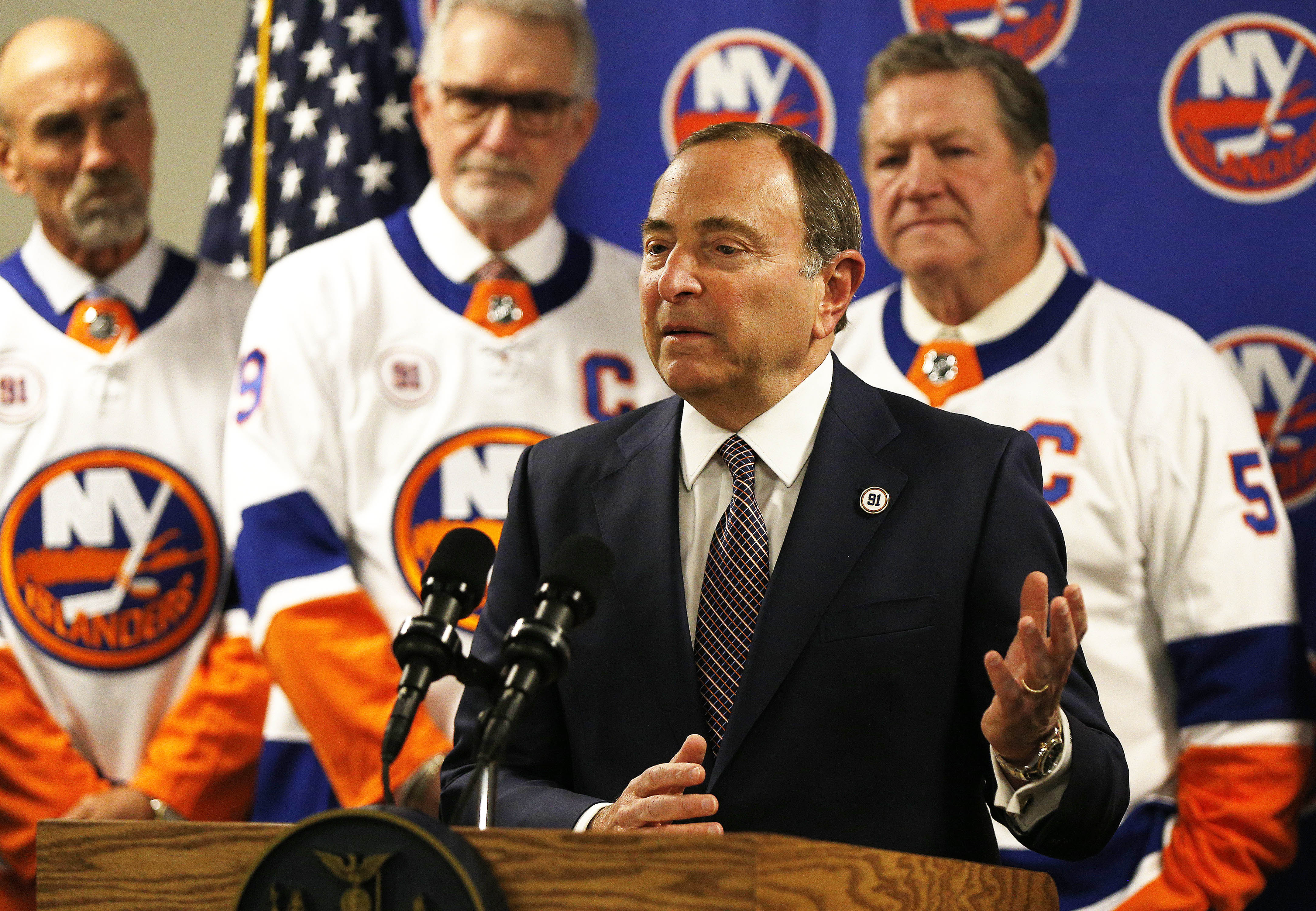 Feb 29, 2020; Uniondale, New York, USA; NHL commissioner Gary Bettman addresses the media announcing that the Islanders will play all this years playoff games and all next years home games at the Nassau Colisuem prior to the game against the Boston Bruins at Nassau Veterans Memorial Coliseum. Mandatory Credit: Andy Marlin-USA TODAY Sports