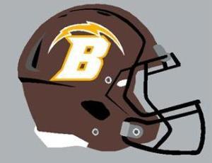 Drawing of Brush High School football helmet / Image courtesy Josh Wells