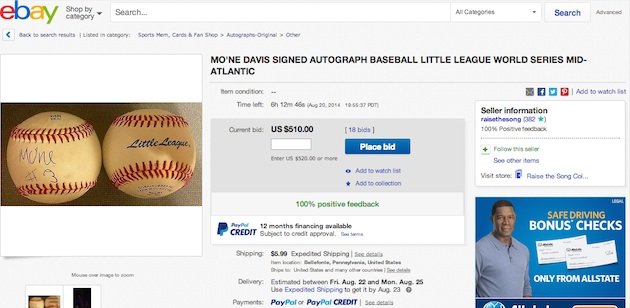 Mo'ne Davis autographed baseballs were bid above $500 on eBay hours before she returned to the mound at the Little League World Series —eBay
