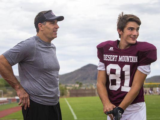 Kurt Warner and his son Kade at a Desert Mountain practice —AZ Central