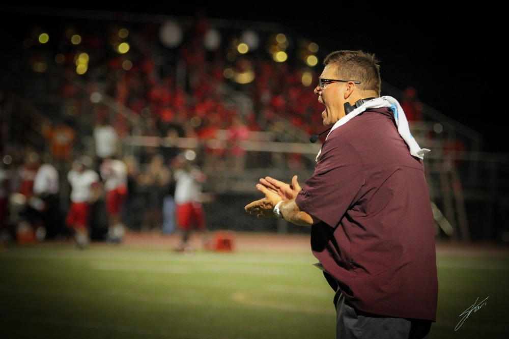New Head Coach, Joe McBride, still working the sidelines in route to his first victory as Tigers' coach.