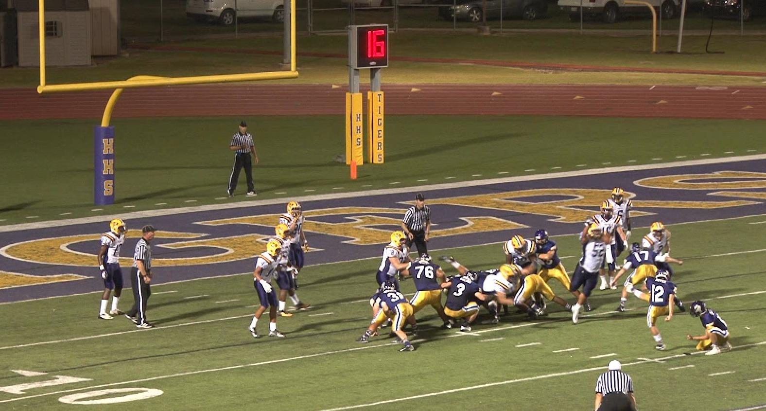 Thibodaux breaks through the line to block a field-goal attempt by Hahnville kicker Matt Boyer just before halftime. Andy Brown returned the block for a touchdown in Thibodaux's 19-16 win. (Photo/Hahnville High School)