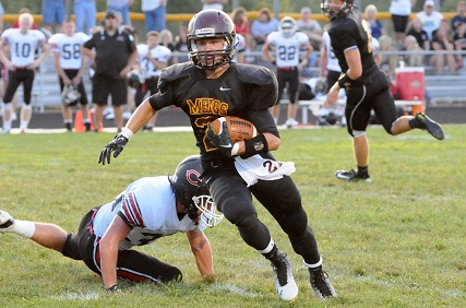 Meigs (Pomeroy, Ohio) running back Mike Davis ran for 352 yards and eight touchdowns and caught a touchdown pass in a 79-69 defeat of Fairland (Proctorville) on Friday.