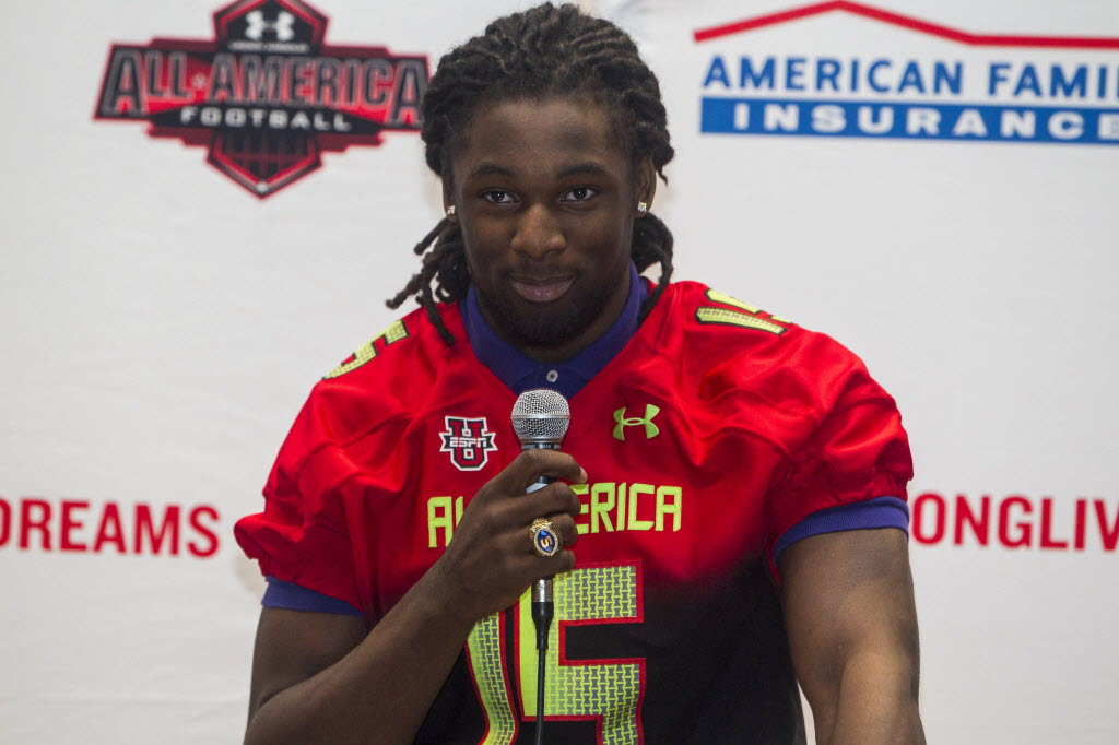 Josh Sweat speaks during a press conference to receive his All-American jersey. / Peter Casey, USA TODAY Sports