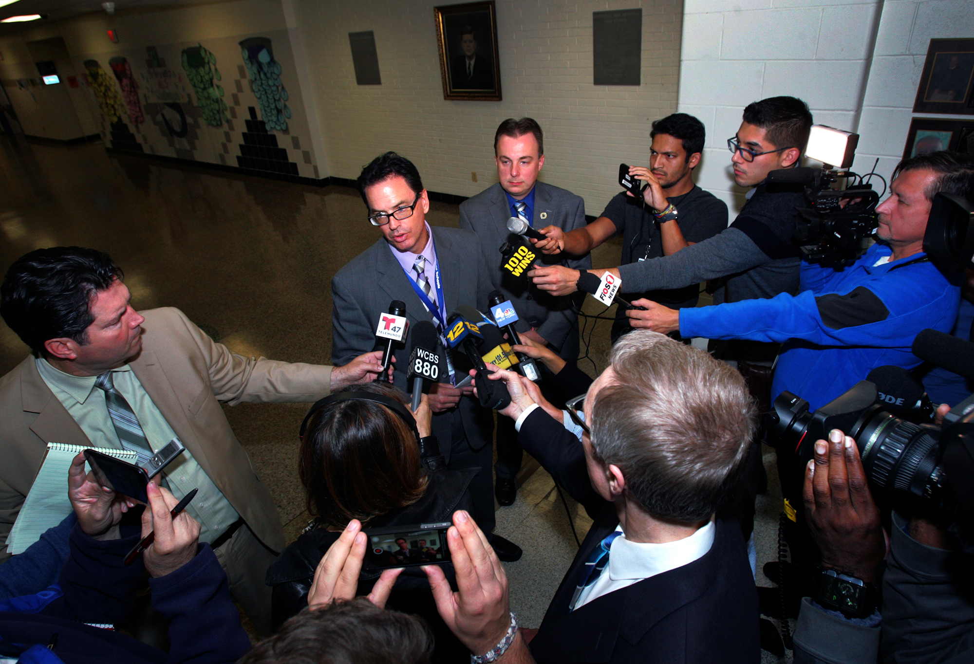 Sayreville superintendent  of schools Richard Labbe talking to the press after the parents meeting Monday. / Ed Pagliarini, Gannett New Jersey