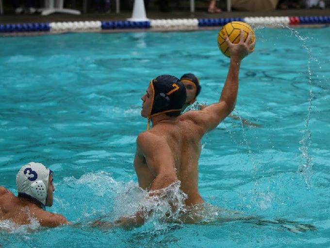 Bellevue water polo center Marco Stanchi prepares to throw a pass. Courtesy of Marco Stanchi.