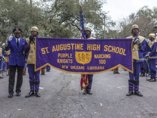 NEW ORLEANS, LA - FEBRUARY 10: St. Augustine High School Purple Knights marching band in the 2013 Krewe of Bacchus Mardi Gras Parade on February 10, 2013 in New Orleans, Louisiana. (Photo/Skip Bolen, Getty Images)
