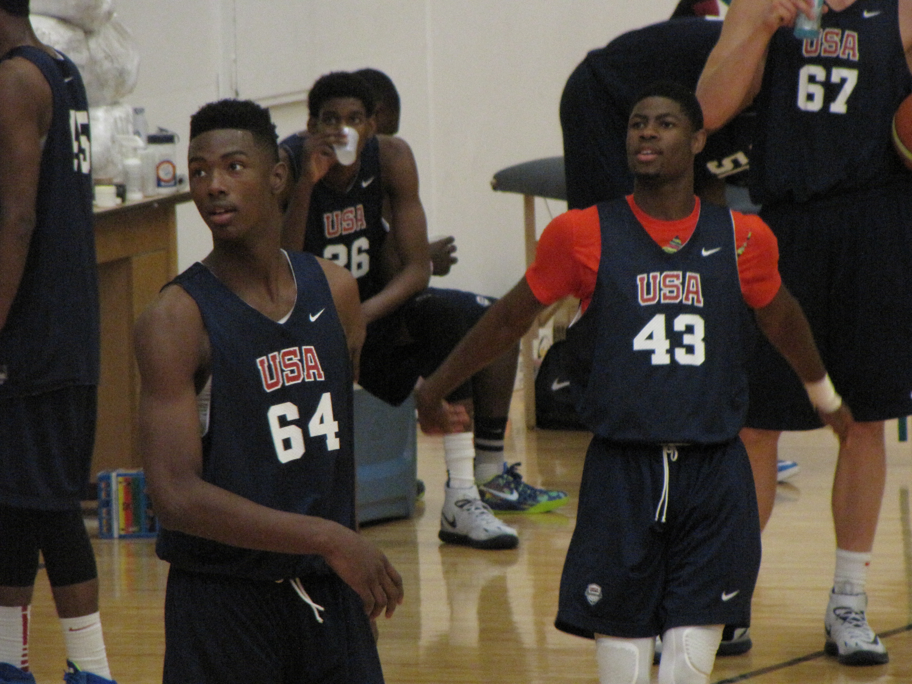 Harry Giles III, left, helped lead Team USA to a xxx. At right is another American Family Insurance Preseason ALL-USA player in Malik Newman of Callaway (Jackson, Miss.). Photo by Jim Halley/USA TODAY High School Sports