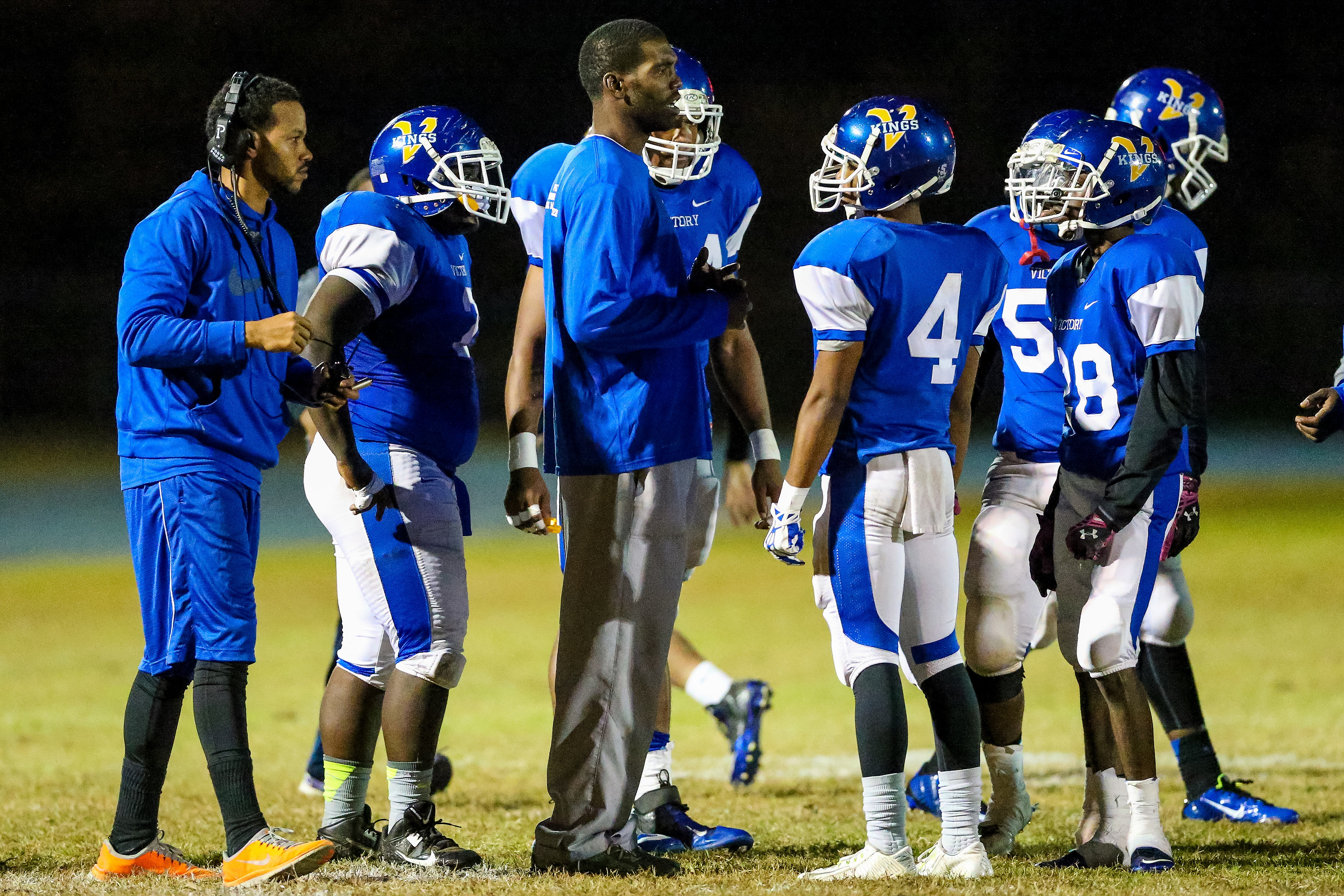 NFL veteran Randy Moss joined the Victory Christian Center (Charlotte, N.C.) football team as special teams coach and defensive coordinator earlier this year. | Photo by Jim Dedmon - USA TODAY  Sports Images