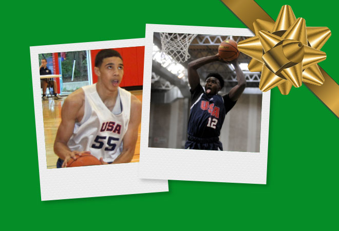 Elite hoopers like Jayson Tatum (left) and Jaylen Brown (right) dish on which skill they'd love to unwrap for Christmas.