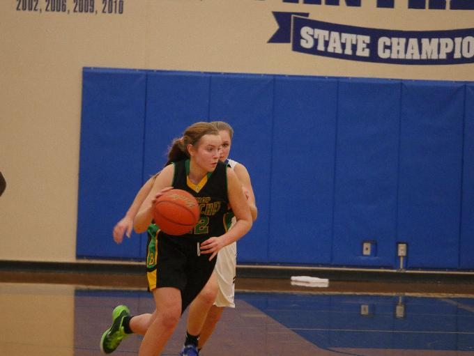 Blanchet's Lily DiPietro dribbles the ball up-court in the Braves' 65-30 win over Seattle Prep.