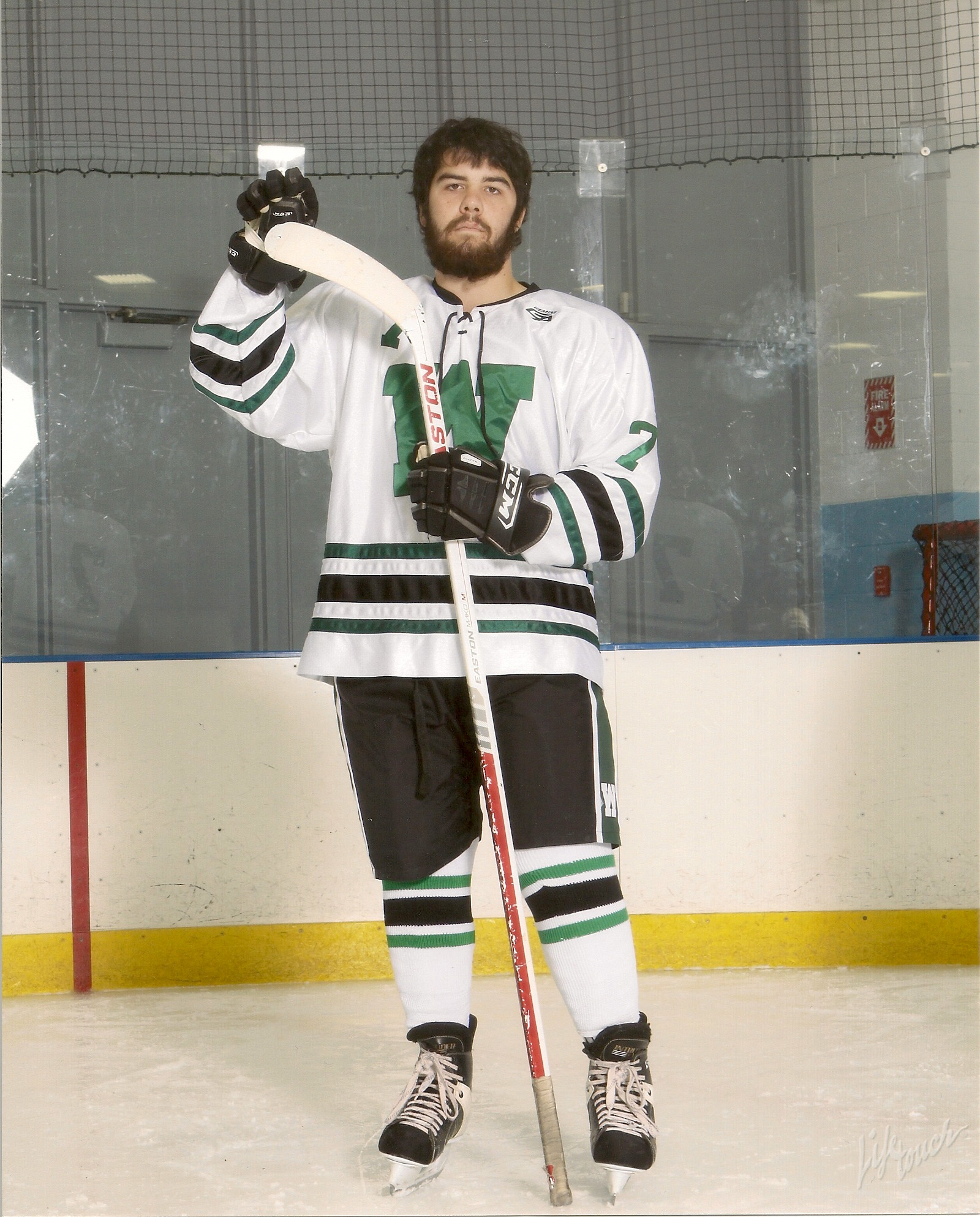 Colin Teets, who is partially paralyzed on his right side, is a senior forward on the Westlake High (Ohio) varsity hockey team.   Photo courtesy of The Teets Family