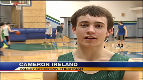 Valley Christian freshman Cameron Ireland hit a state record 12 three-pointers in a single game —KPAX video screen shot