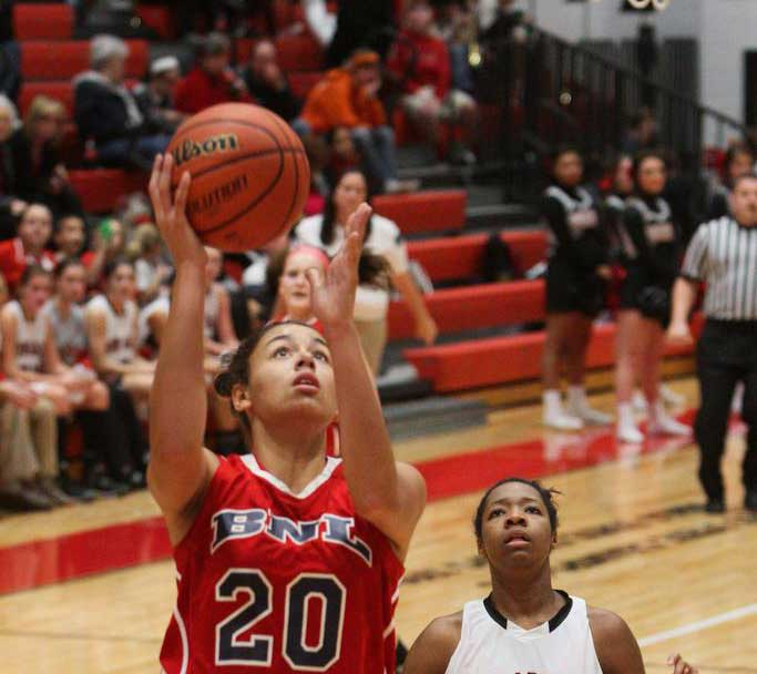 Dominique McBryde led No. 3 Bedford North Lawrence (Bedford, Ind.) to a regional semifinal defeat of Center Grove (Greenwood). The Stars have a big test tonight with Columbus North. (Photo: Indianapolis Star)