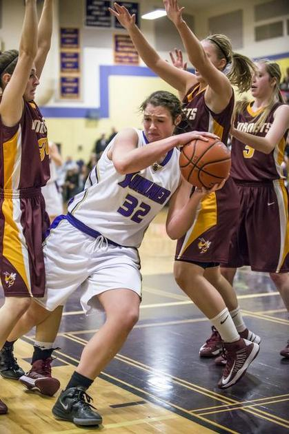 Sumner girls basketball player Jamie Lange had three consecutive double-doubles to lead her team in the playoffs. Photo by Puyallup Herald.