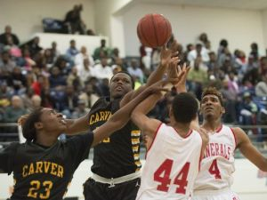 G.W. Carver forward Marlon Davidson (52) is trying to stand tall following his mother's death. (Photo: ALBERT CESARE/ADVERTISER FILE)