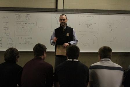 Walsh Jesuit football coach Scott Beigie speaks to team after being introduced as squad's next leader / Photo courtesy Tim Dubravetz
