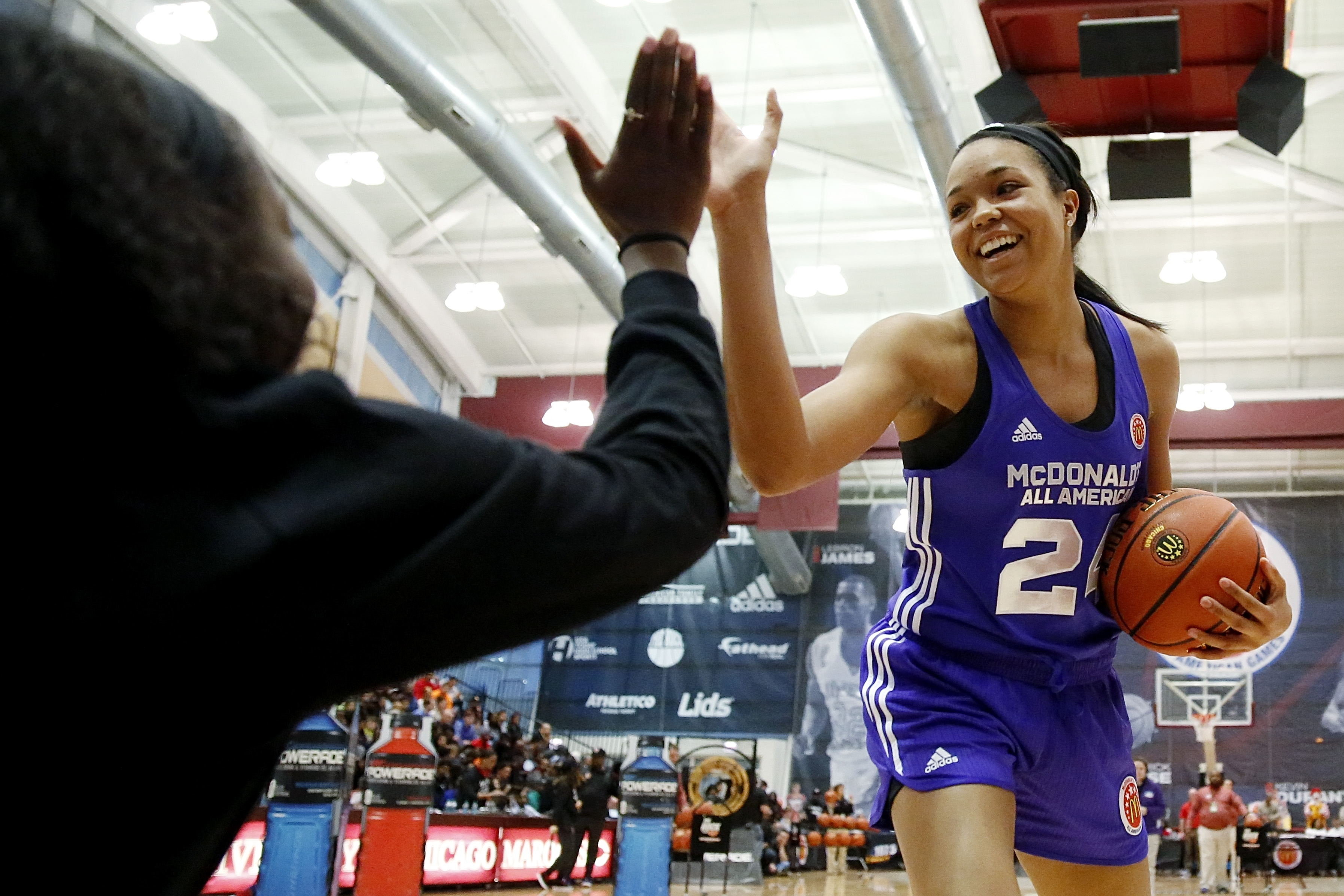 Napheesa Collier from Incarnate Word in St. Louis won the girls' skills competition at the McDonald's All American Game (Photo: Associated Press)